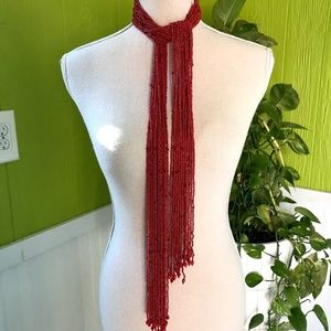 "20 Strand 52"" Coral Beaded Scarf Necklace Belt"